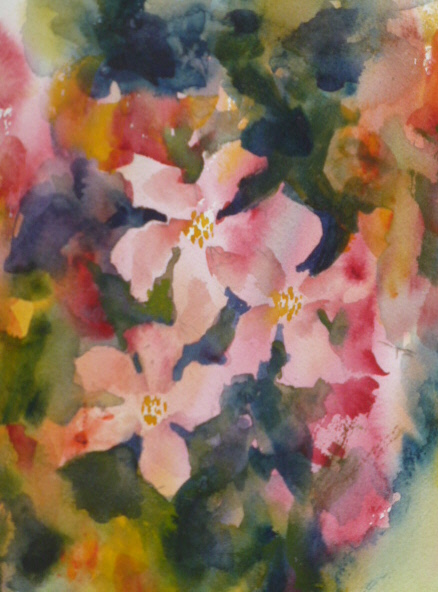 A FALL OF CLEMATIS - FLORAL WATERCOLOUR PAINTING