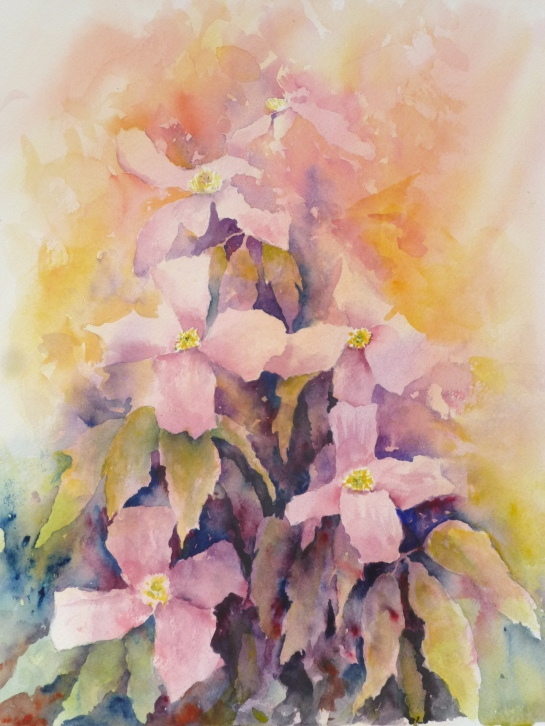 CLEMATIS IN THE SUN - ~FLORAL WATERCOLOUR PAINTING